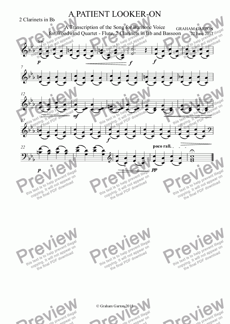 page one of the 2 Clarinets in B^b part from INSTRUMENTAL - 'A PATIENT LOOKER-ON' Transcription of the Song for Baritone Voice and Piano for Woodwind Quartet - Flute 2 Clarinet in Bb and Bassoon