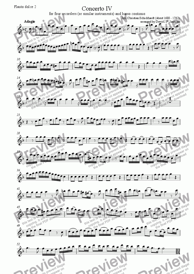 page one of the Flauto Dolce II part from Concerto IV