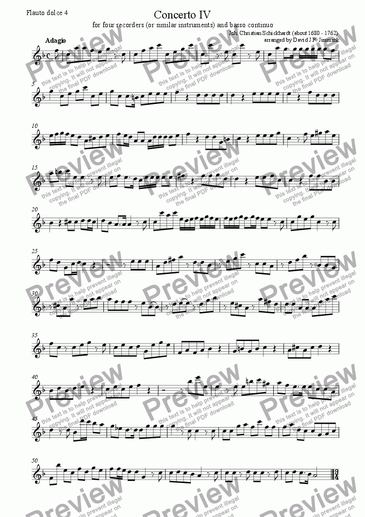 page one of the Flauto Dolce IV part from Concerto IV