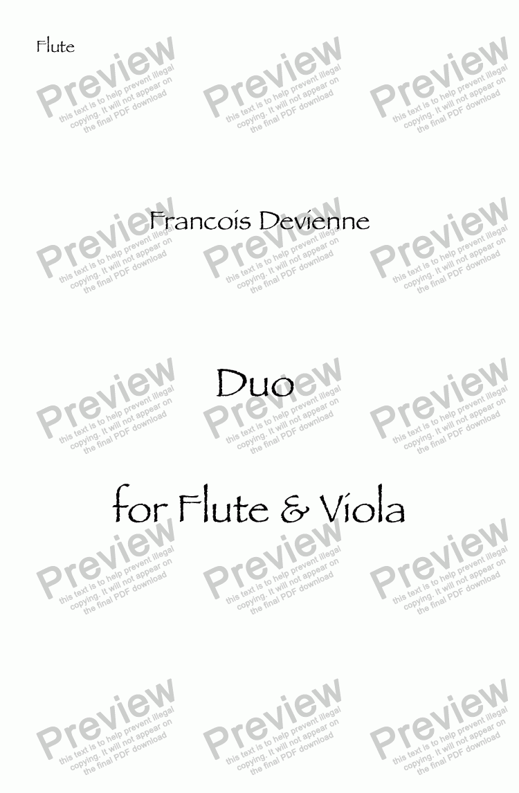 page one of the Flute part from Duo # 3 for Flute & Viola