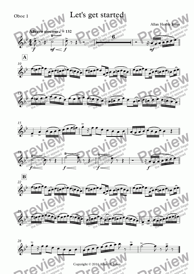 page one of the Oboe 1 part from Let's get started