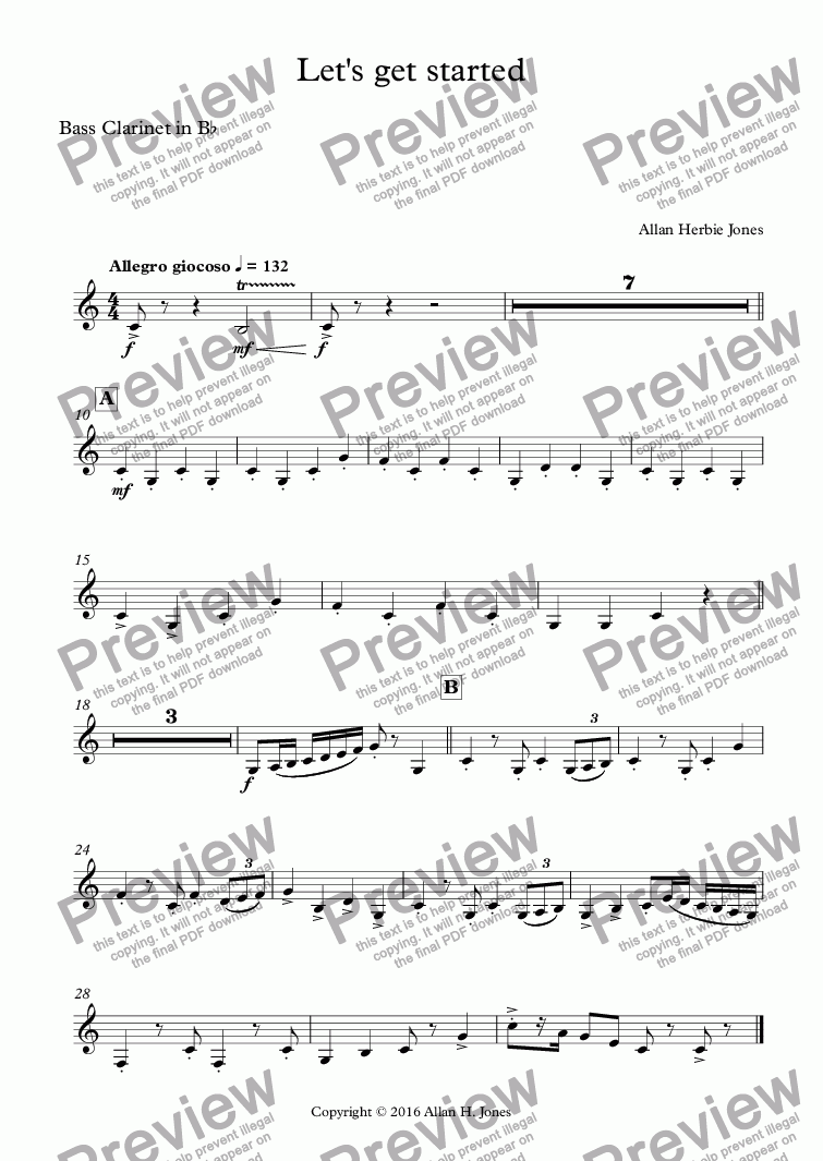 page one of the Bass Clarinet in B^b part from Let's get started