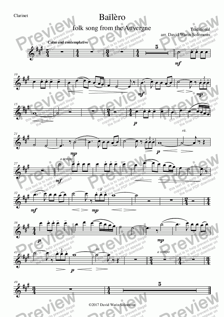 page one of the bailero clarinet guitar - Clarinet part from Bailero for clarinet and guitar