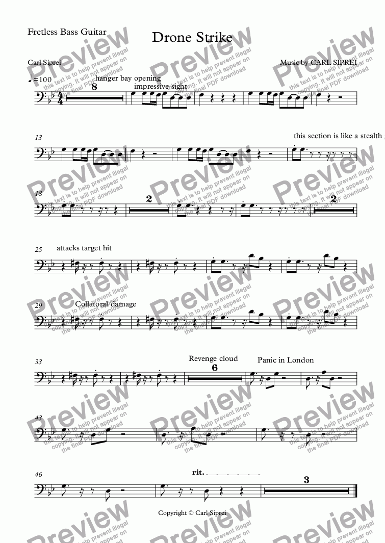 page one of the Fretless Bass Guitar part from Drone Strike