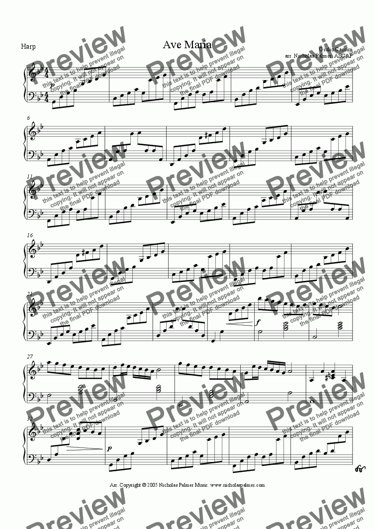 page one of the Harp or Piano part from Ave Maria - Caccini [strings, harp and solo]