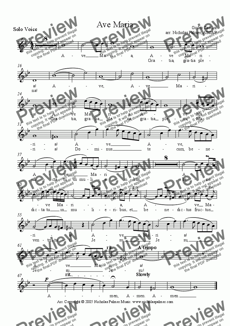 page one of the Solo Voice (soprano or tenor) part from Ave Maria - Caccini [strings, harp and solo]