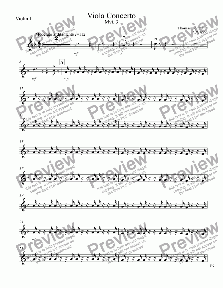 page one of the Violin I part from Viola Concerto Mvt. 3