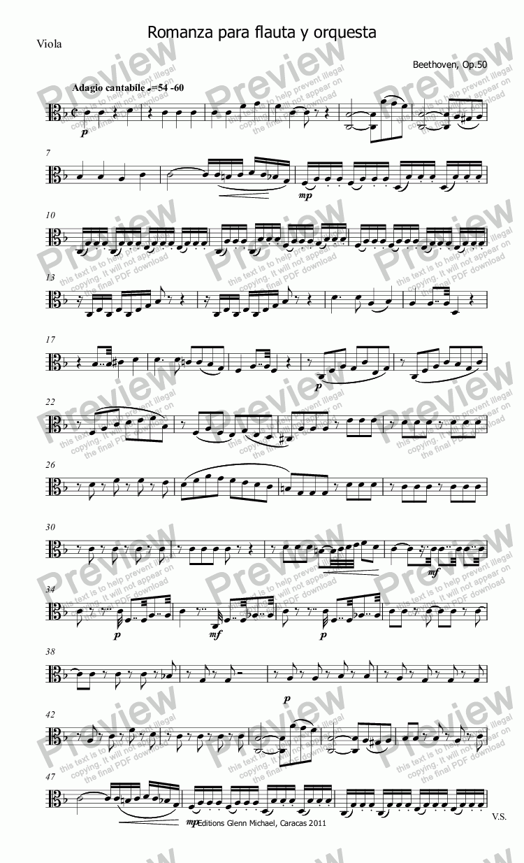 page one of the Viola part from Beethoven Romanza for Flute & Orchestra