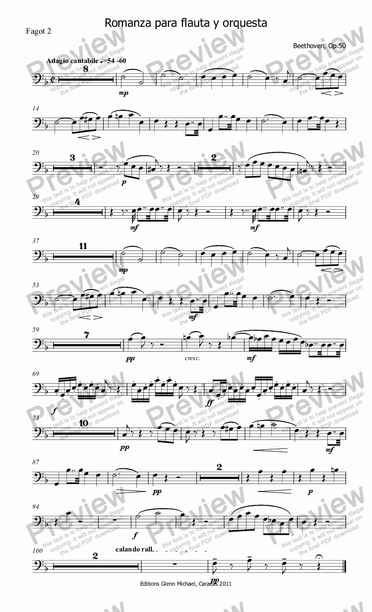 page one of the Fagot 2 part from Beethoven Romanza for Flute & Orchestra