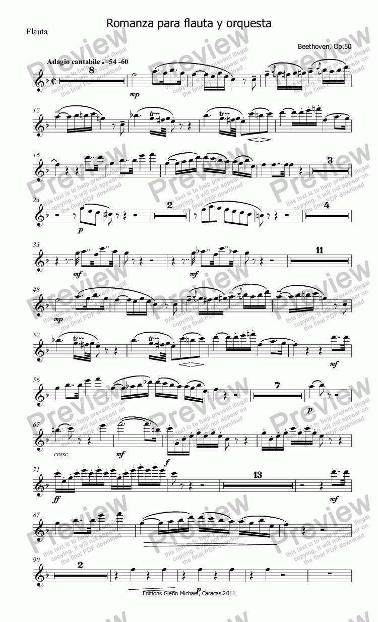 page one of the Flauta part from Beethoven Romanza for Flute & Orchestra