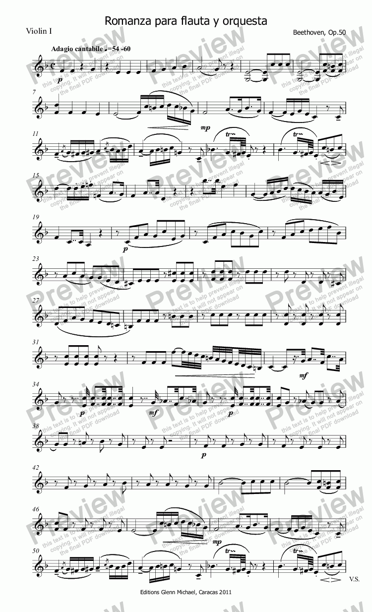 page one of the Violin I part from Beethoven Romanza for Flute & Orchestra