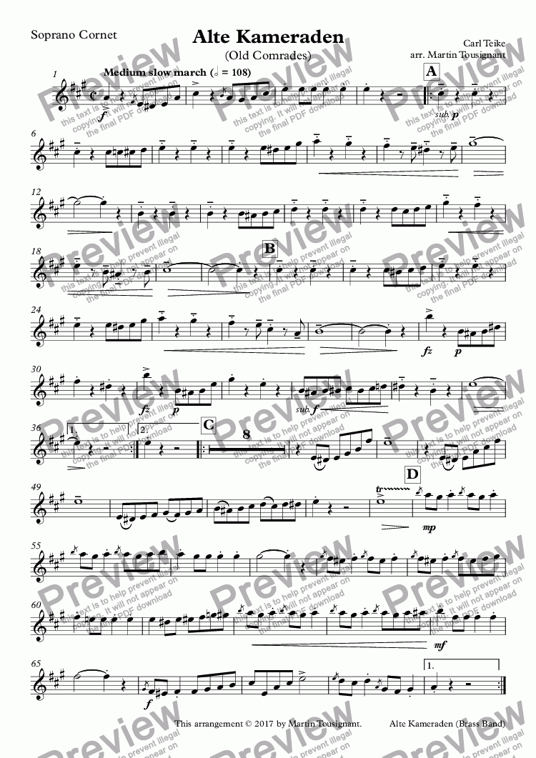 page one of the Soprano Cornet part from Alte Kameraden