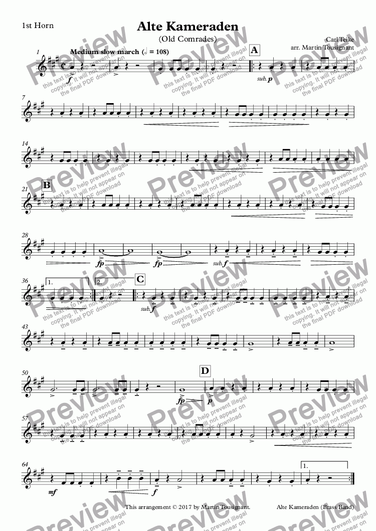 page one of the 1st Horn part from Alte Kameraden