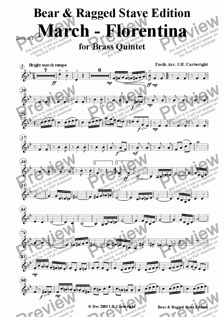 page one of the Horn in F part from March - Florentina for brass quintet
