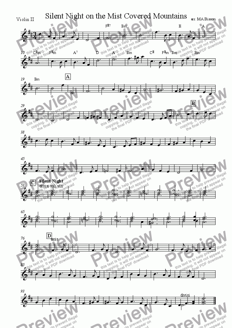 page one of the Violin 2 (countermelody) part from Silent Night on the Mountains - a Christmas waltz for ceilidh band