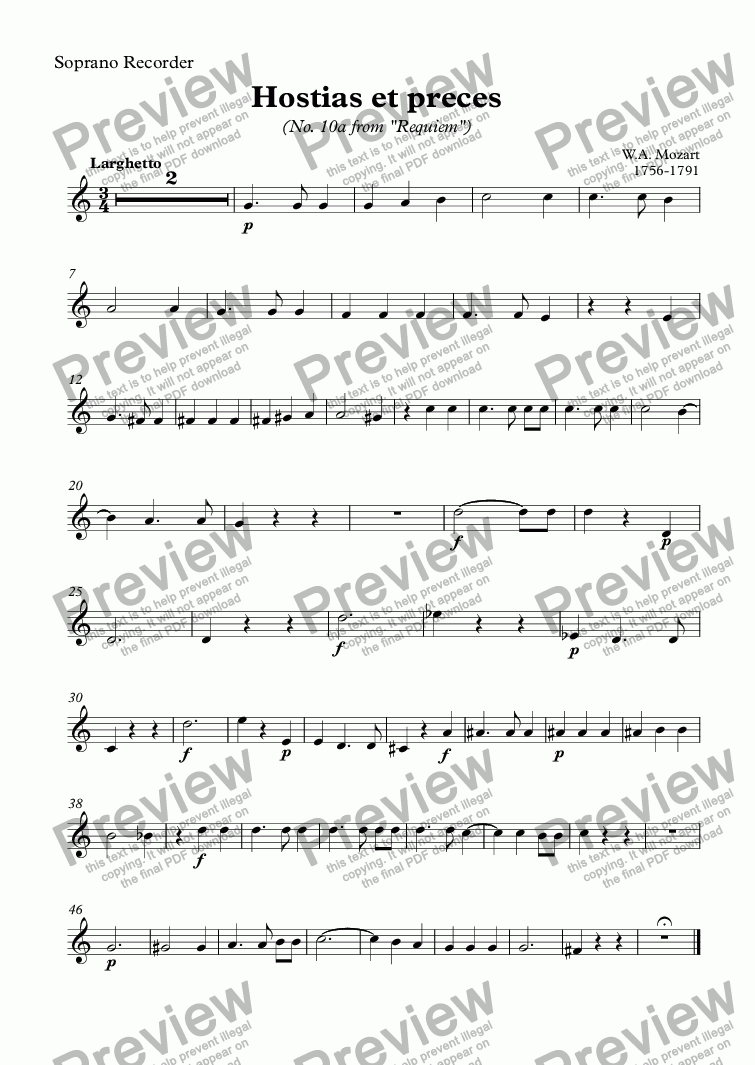 page one of the Soprano Recorder part from Hostias et preces (Mozart)