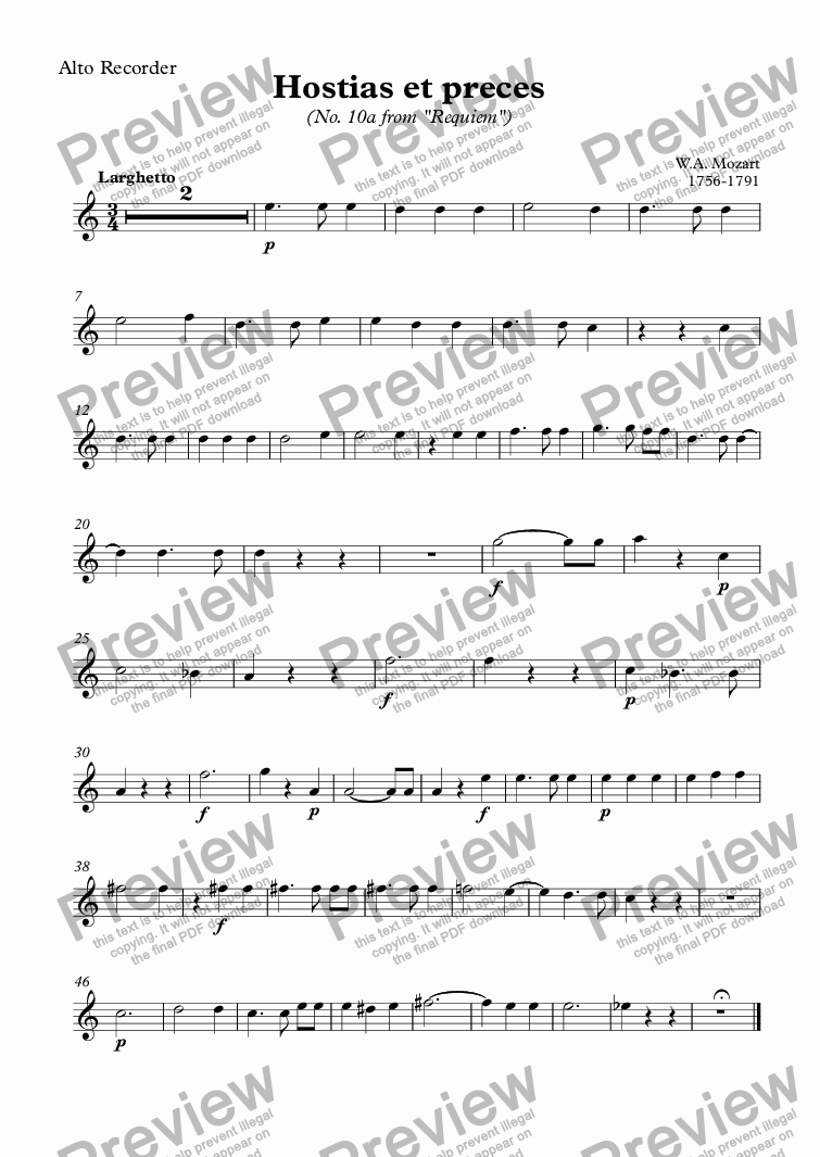 page one of the Alto Recorder part from Hostias et preces (Mozart)