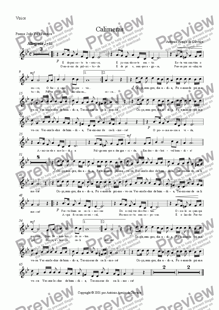 page one of the Voice part from Calimeras