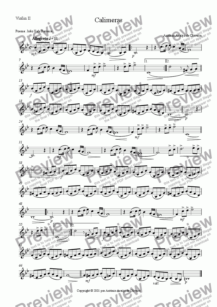 page one of the Violin II part from Calimeras