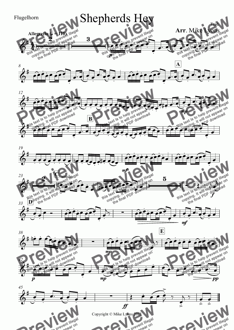 page one of the Flugelhorn part from Brass Band - Shepherds Hey