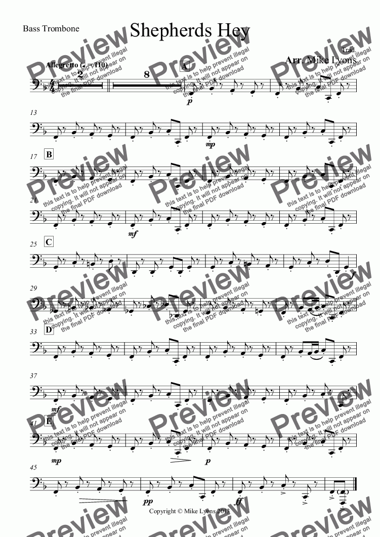 page one of the Bass Trombone part from Brass Band - Shepherds Hey