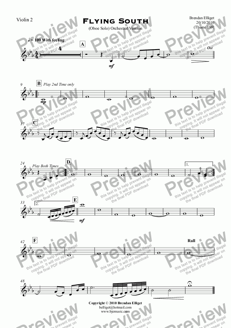 page one of the Violin 2 part from Flying South - Oboe Solo with Orchestra