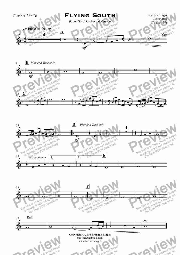 page one of the Clarinet 2 in B^b part from Flying South - Oboe Solo with Orchestra