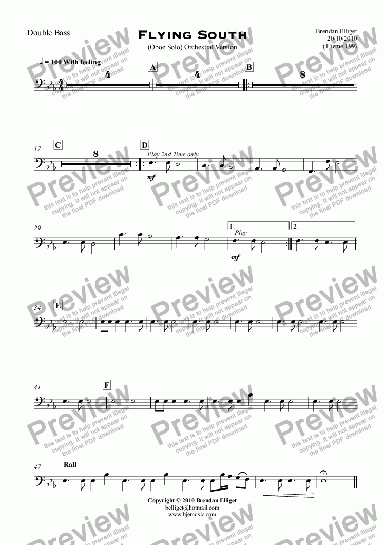 page one of the Double Bass part from Flying South - Oboe Solo with Orchestra