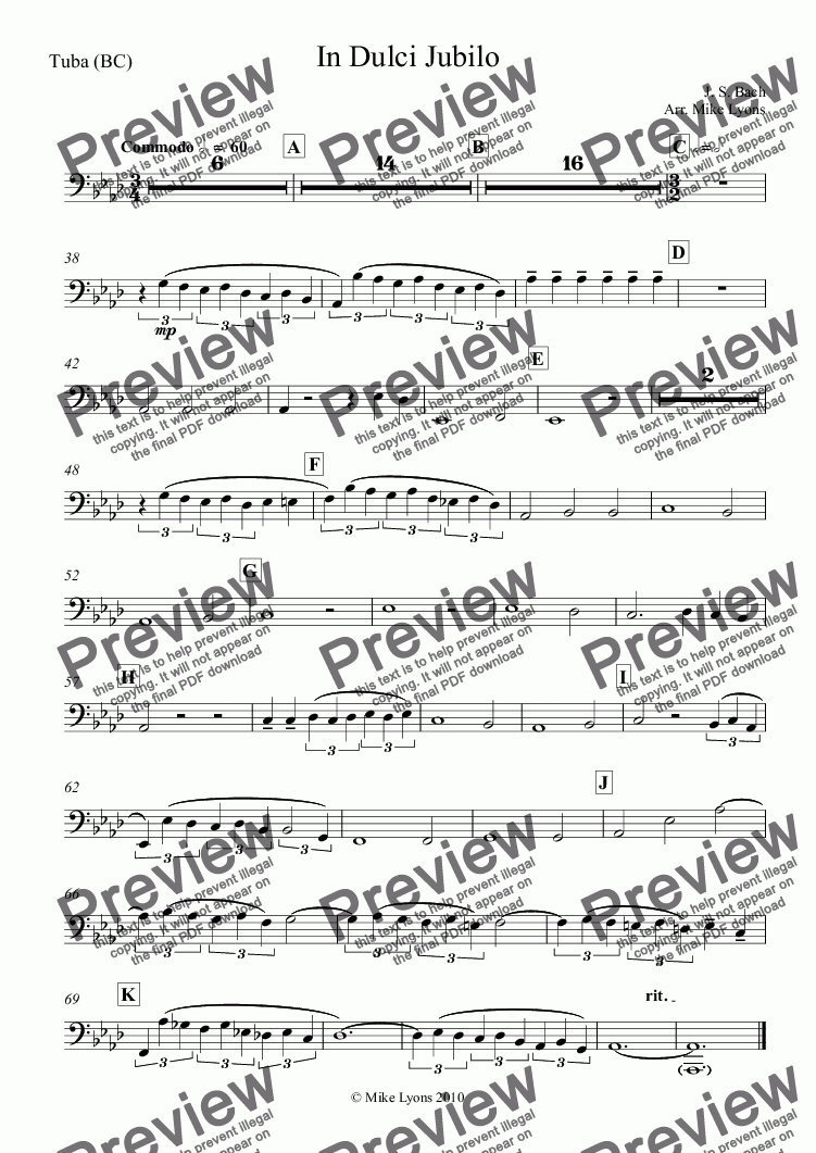 page one of the Tuba (BC) part from Brass Quintet - In Dulci Jubilo