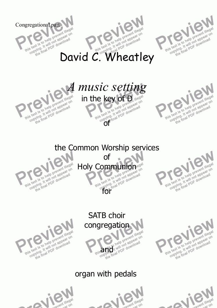 page one of the congregational part from Holy Communion setting (Common Worship) by David Wheatley