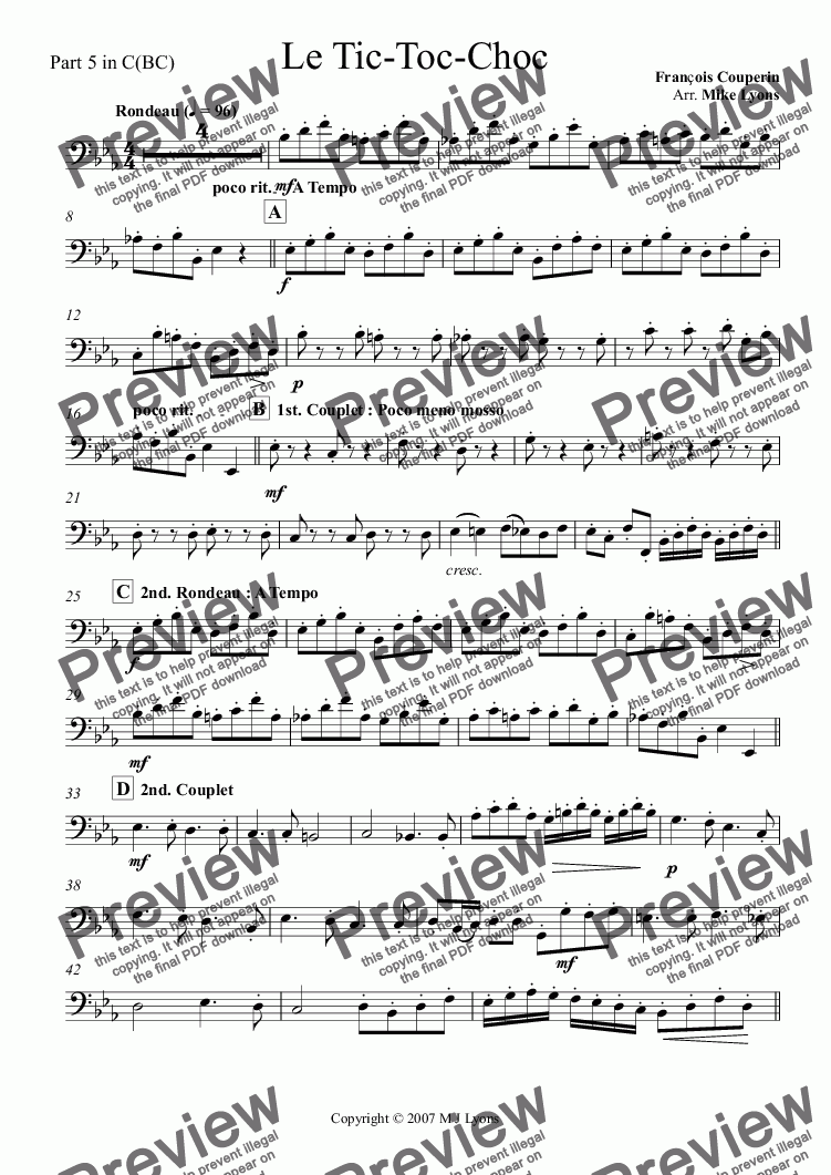 page one of the Part 5 in C(BC) part from Brass Sextet - Le Tic-Toc Choc a6