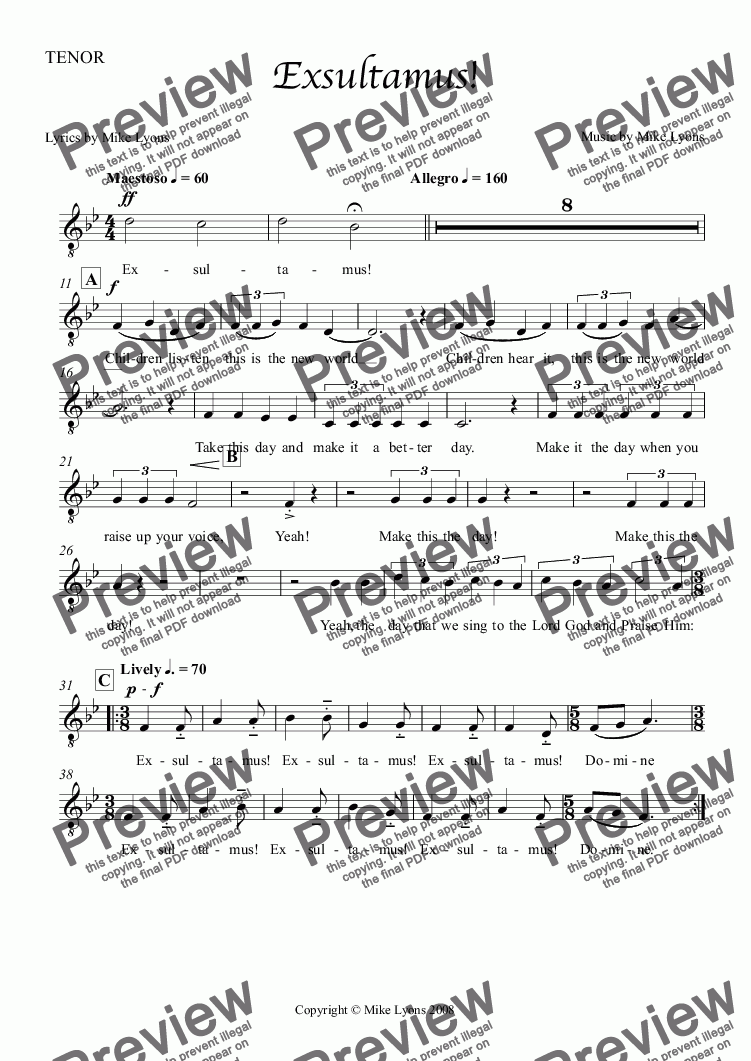 page one of the TENOR part from Choral - Exultamus!