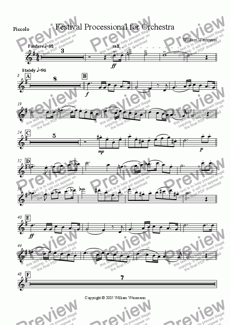 page one of the Piccolo part from Festival Processional for Orchestra