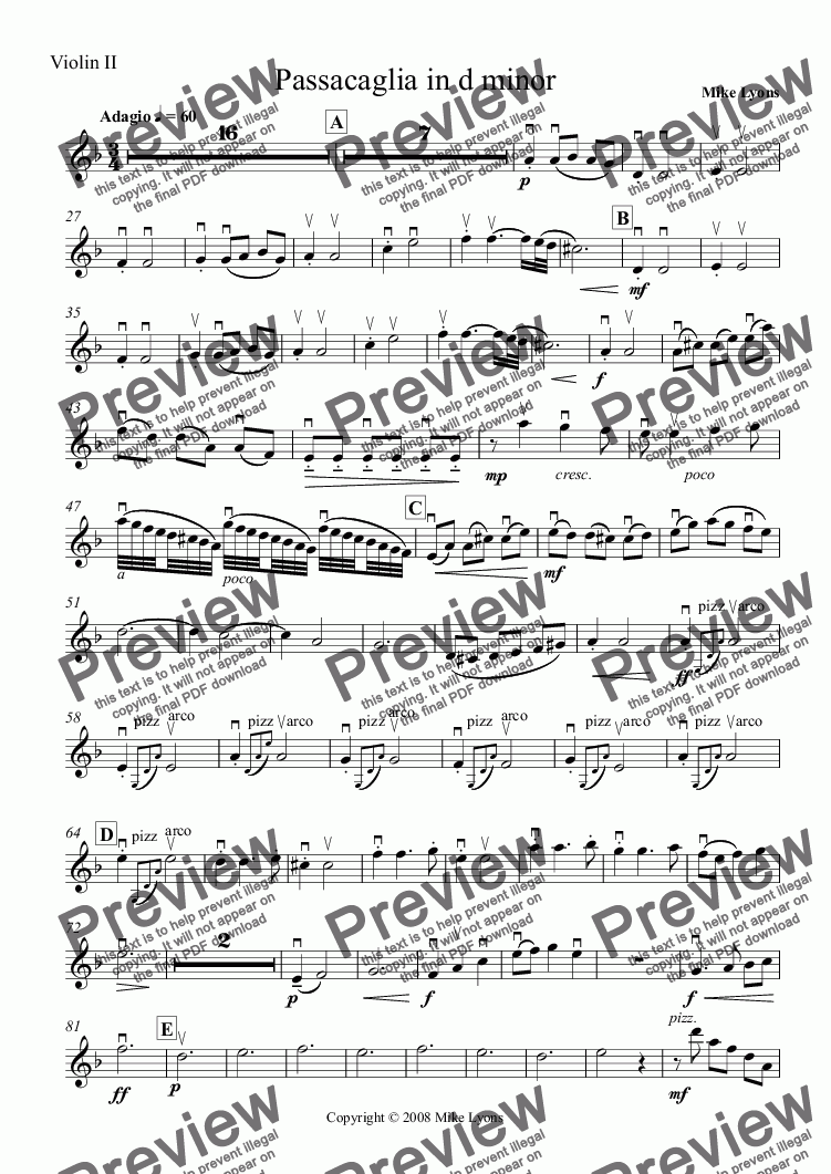 page one of the Violin II part from String Orchestra - Passacaglia in D Minor