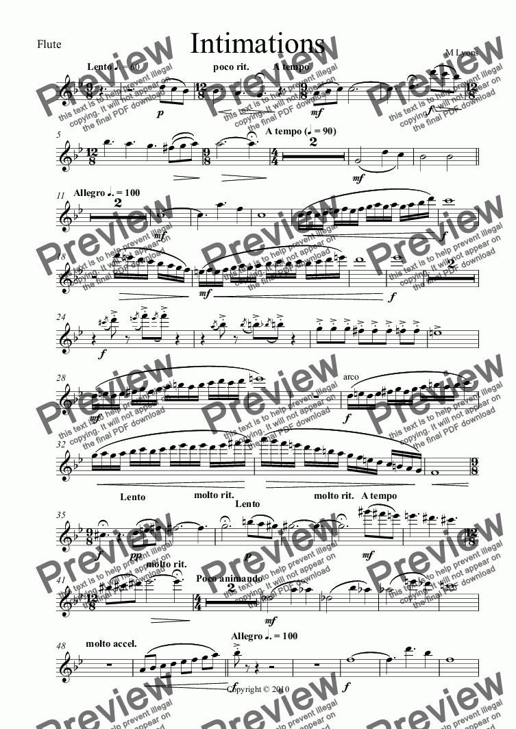 page one of the Flute part from Mixed Quartet - Intimations