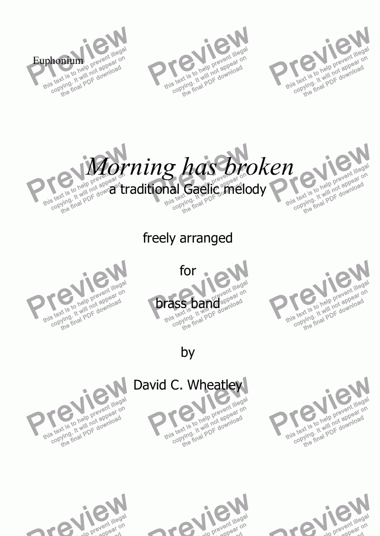 page one of the Euphonium part from Morning has broken for Brass Band by David Wheatley