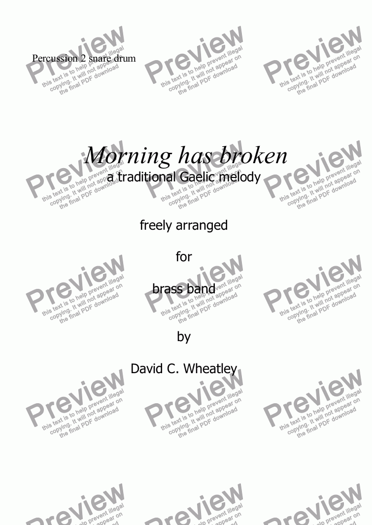 page one of the Percussion 2 snare drum part from Morning has broken for Brass Band by David Wheatley