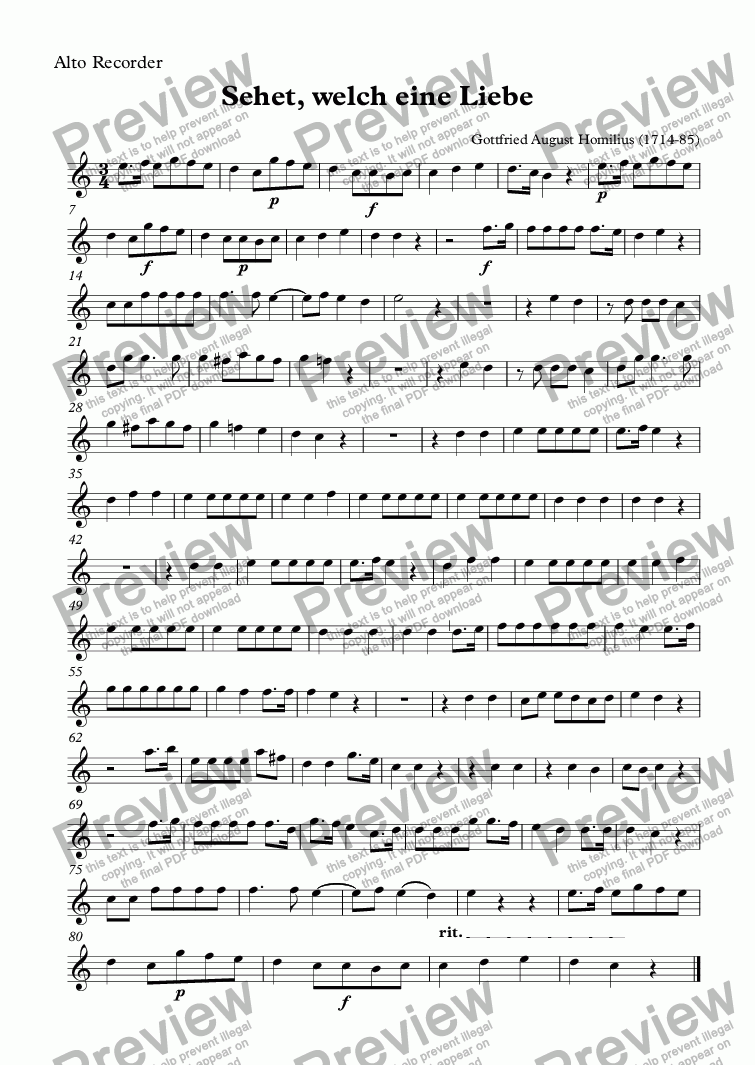 page one of the Alto Recorder part from Sehet, welch eine Liebe (Homilius)