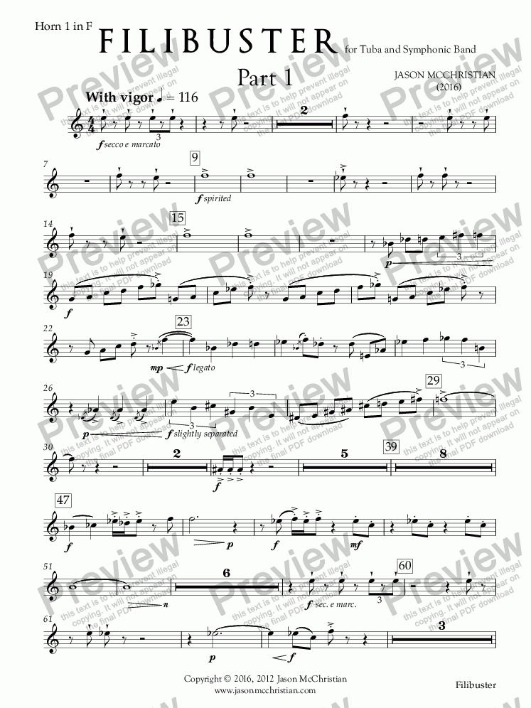 page one of the 18. Filibuster - for Tuba and Symphonic Band - Horn 1 in F part from Filibuster - for Tuba and Symphonic Band - Full Score and Parts