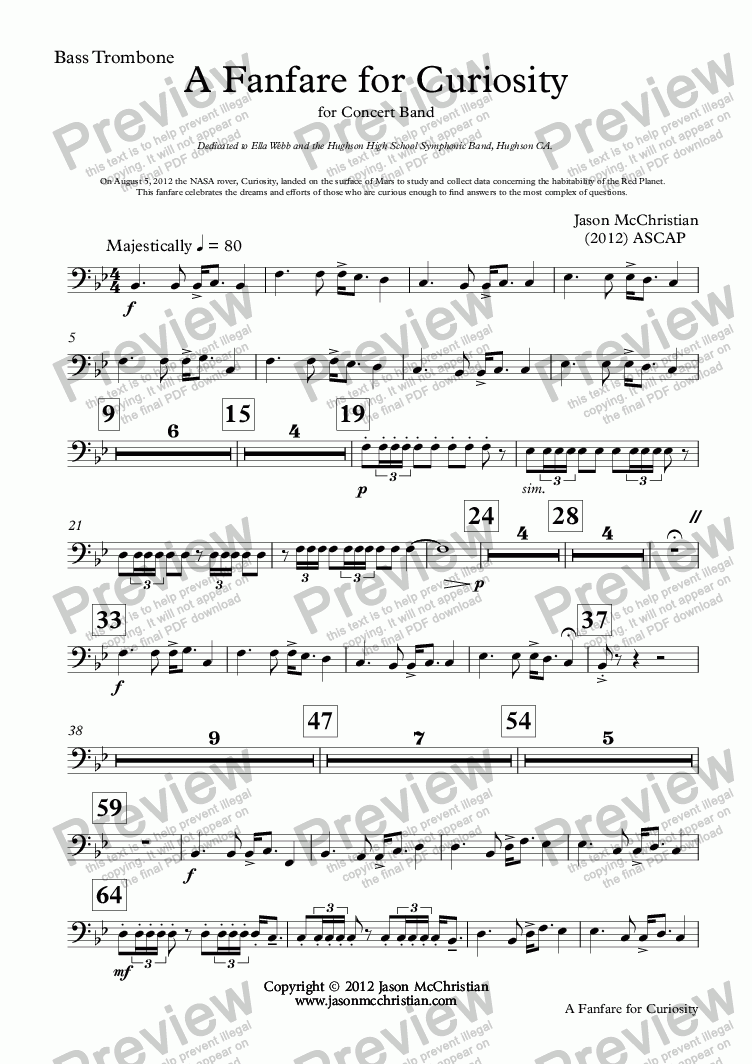 page one of the 20. A Fanfare for Curiosity - Bass Trombone part from A Fanfare for Curiosity - for Concert Band - Full Score and Parts