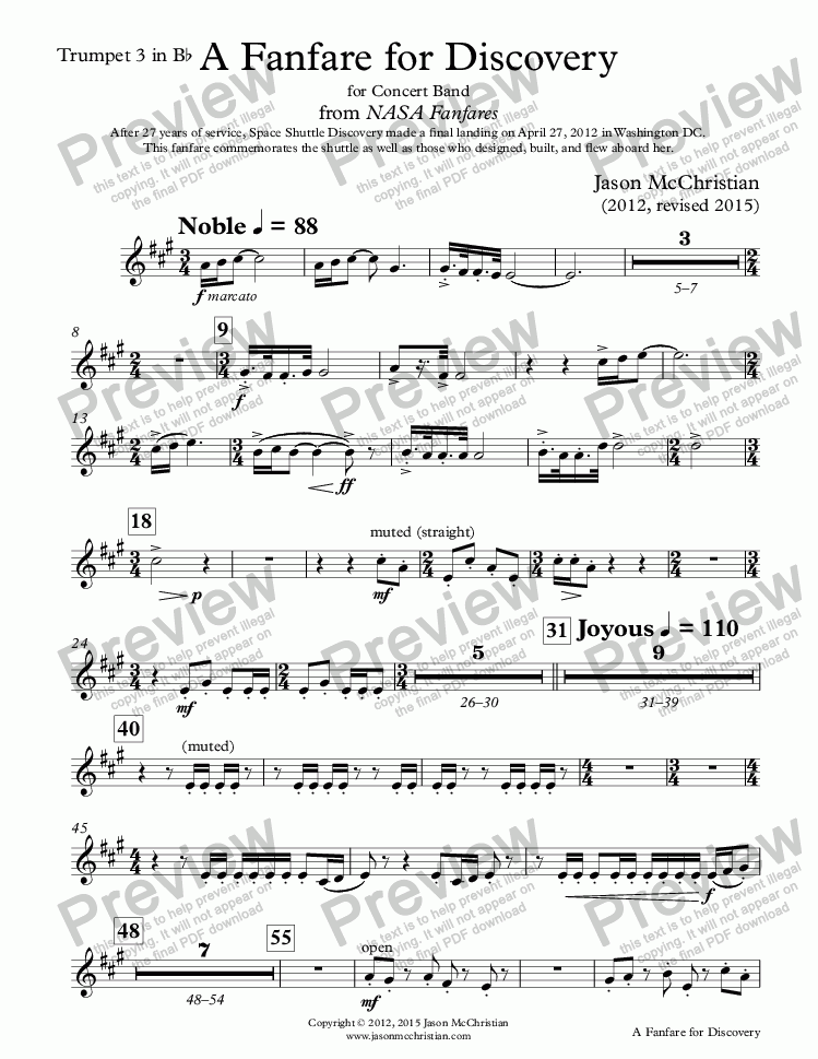 page one of the 16. A Fanfare for Discovery-Trumpet 3 in Bb part from A Fanfare for Discovery - for Concert Band - Full Score and Parts