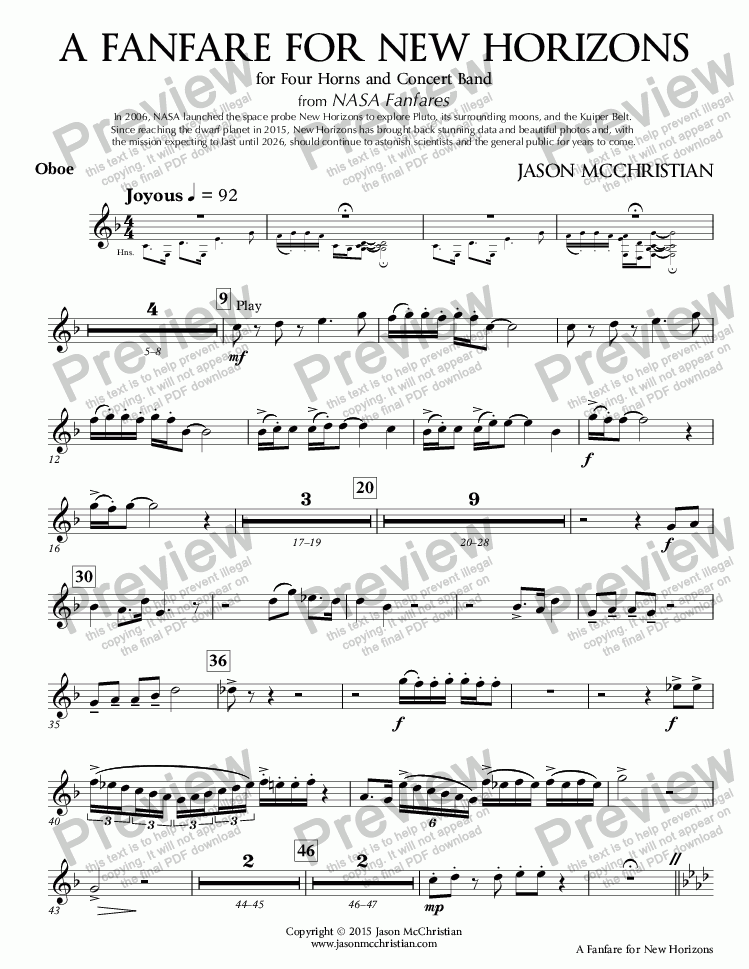 page one of the 4. A Fanfare for New Horizons - Oboe part from A Fanfare for New Horizons - for Four Horns and Concert Band - Full Score and Parts