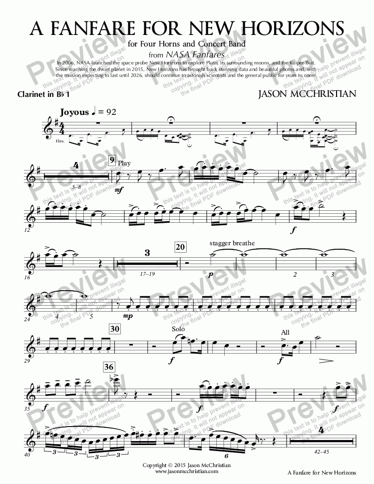 page one of the 5. A Fanfare for New Horizons - Clarinet 1 in Bb part from A Fanfare for New Horizons - for Four Horns and Concert Band - Full Score and Parts