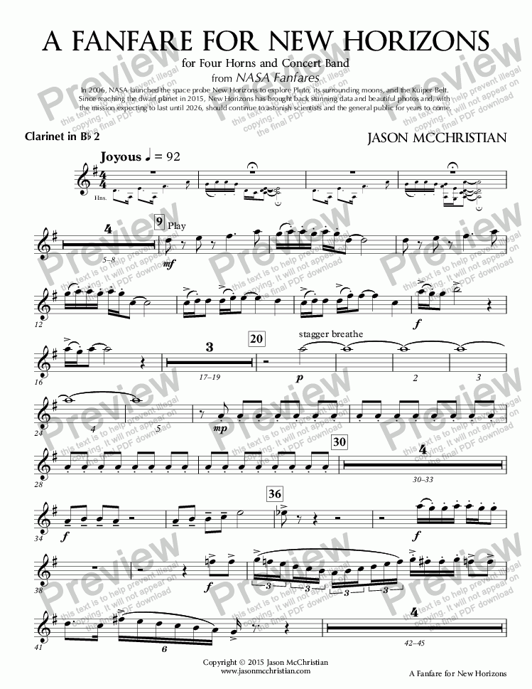 page one of the 6. A Fanfare for New Horizons - Clarinet in Bb 2 part from A Fanfare for New Horizons - for Four Horns and Concert Band - Full Score and Parts
