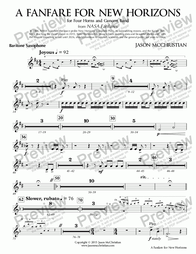 page one of the 14. A Fanfare for New Horizons - Baritone Saxophone part from A Fanfare for New Horizons - for Four Horns and Concert Band - Full Score and Parts