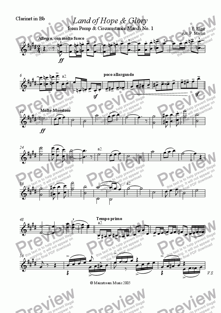 page one of the Clarinet in Bb part from Land of Hope and Glory