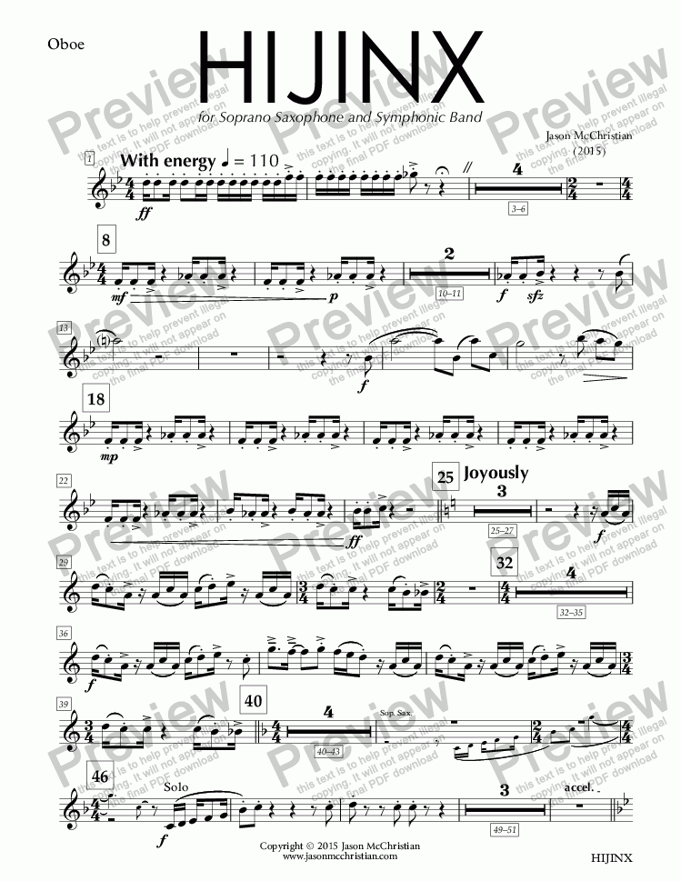page one of the HIJINX - 5. Oboe part from HIJINX - for Soprano Saxophone and Symphonic Band - Full Score and Parts