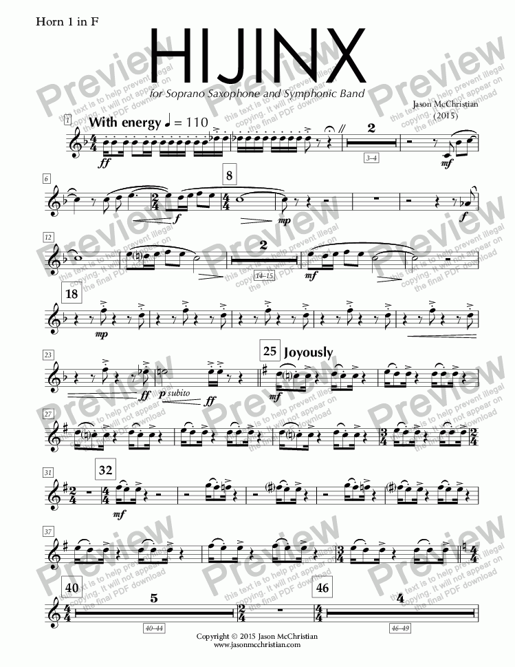 page one of the HIJINX - 18. Horn 1 in F part from HIJINX - for Soprano Saxophone and Symphonic Band - Full Score and Parts
