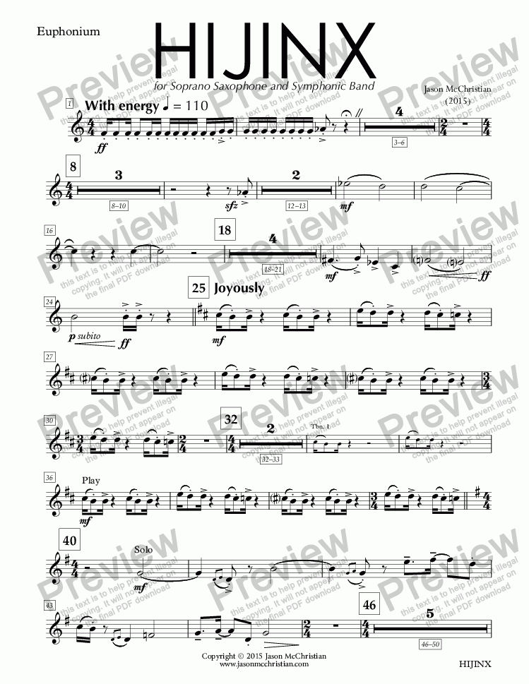 page one of the HIJINX - 25. Euphonium (Treble Clef) part from HIJINX - for Soprano Saxophone and Symphonic Band - Full Score and Parts