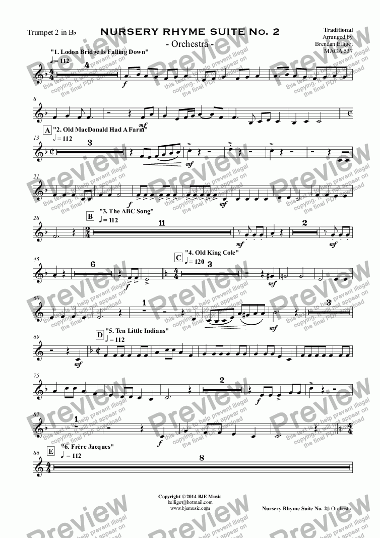 page one of the Trumpet 2 in B^b part from NURSERY RHYME SUITE No. 2 - Orchestra